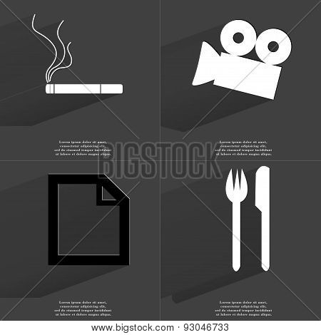 Cigarette, Film Camera, File Icon, Fork And Knife. Symbols With Long Shadow. Flat Design