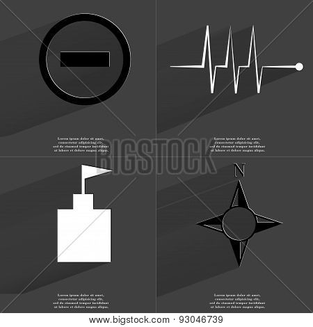 Minus Icon, Pulse, Flag Tower, Compass. Symbols With Long Shadow. Flat Design