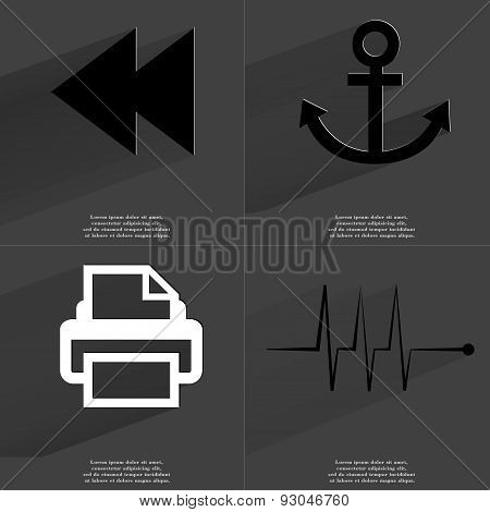 Two Arrows Media Icon, Anchor, Printer, Pulse. Symbols With Long Shadow. Flat Design