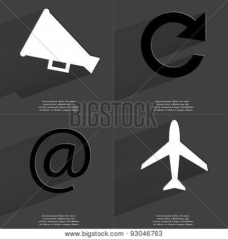 Megaphone, Reload Icon, At Sign, Airplane. Symbols With Long Shadow. Flat Design