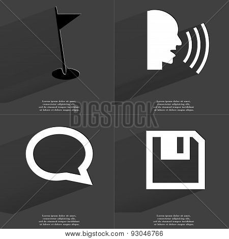Golf Hole, Talk, Chat Bubble, Floppy Disk. Symbols With Long Shadow. Flat Design