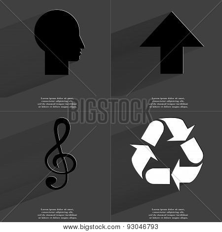 Silhouette, Arrow Directed Upwards, Clef, Recycling. Symbols With Long Shadow. Flat Design