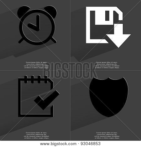 Alarm Clock, Floppy Disk Download, Task Completed Icon, Badge. Symbols With Long Shadow. Flat Design