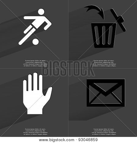 Silhouette Of Football Player, Trash Can, Hand, Message. Symbols With Long Shadow. Flat Design
