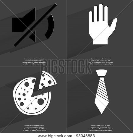 Mute Icon, Hand, Pizza, Tie. Symbols With Long Shadow. Flat Design