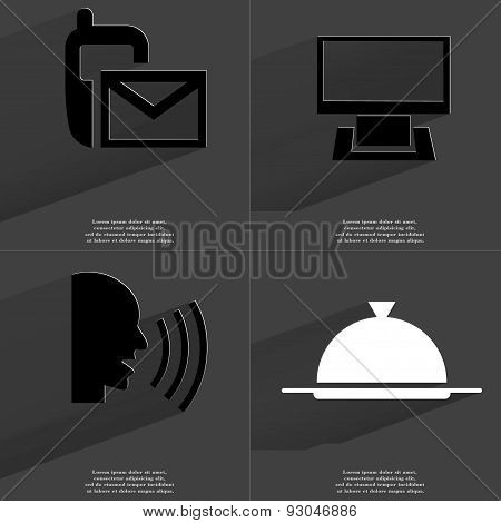 Sms Icon, Monitor, Talk, Tray. Symbols With Long Shadow. Flat Design
