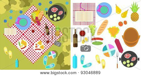 Summer picnic with blanket and basket of food, top view