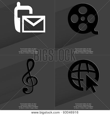 Sms, Videotape, Clef, Web Icon Cursor. Symbols With Long Shadow. Flat Design