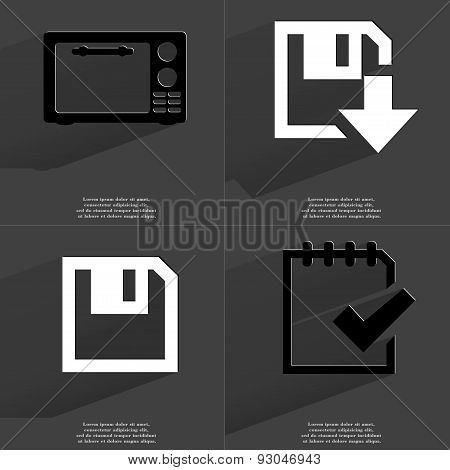 Microwave, Floppy Disk Download Icon,task Completed Icon. Symbols With Long Shadow. Flat Design