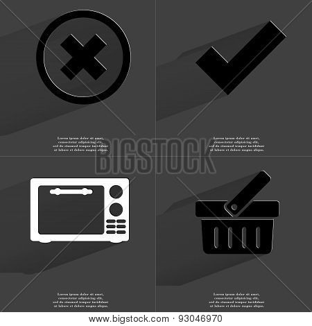Stop, Tick Sign, Microwave, Basket. Symbols With Long Shadow. Flat Design