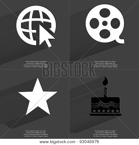 Web Icon Cursor, Videotape, Star, Cake. Symbols With Long Shadow. Flat Design