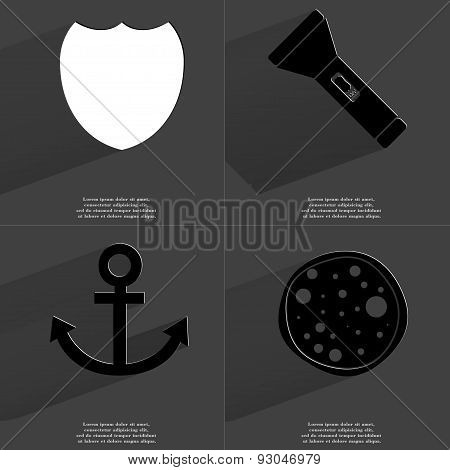 Badge, Flashlight, Anchor, Pizza. Symbols With Long Shadow. Flat Design