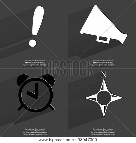 Exclamation Mark, Megaphone, Alarm Clock, Compass. Symbols With Long Shadow. Flat Design