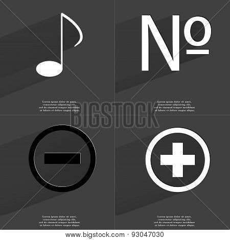 Note Sign, Number, Minus, Plus. Symbols With Long Shadow. Flat Design
