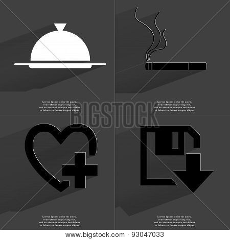 Tray, Cigarette, Heart Plus Sign, Floppy Disk Download Icon. Symbols With Long Shadow. Flat Design