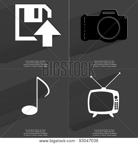 Floppy Disk Upload Icon, Camera, Note Sign, Retro Tv. Symbols With Long Shadow. Flat Design