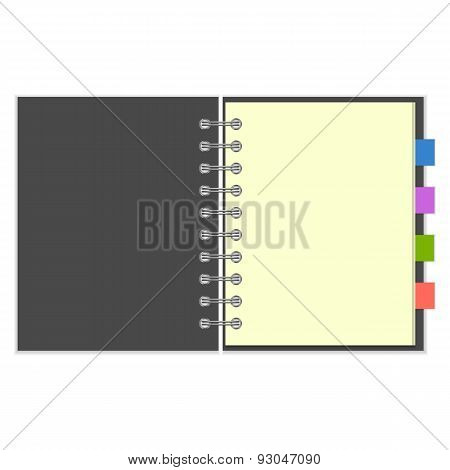 Blank grey spiral notebook with colorful bookmarks