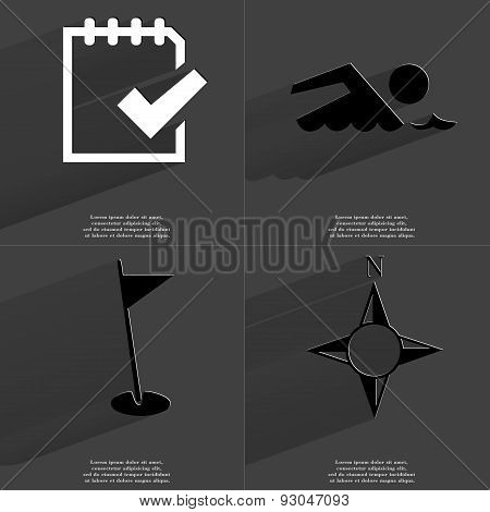 Task Completed Icon, Silhouette Of Swimmer, Golf Hole, Compass. Symbols With Long Shadow. Flat Desig