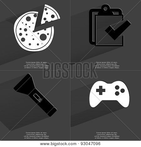Pizza, Task Completed Icon, Flashlight, Gamepad. Symbols With Long Shadow. Flat Design