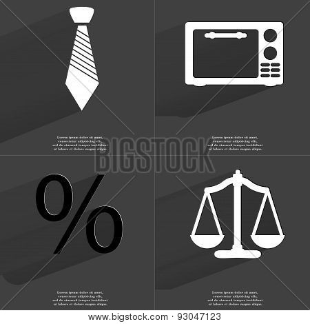 Tie, Microwave, Percent Sign, Scales. Symbols With Long Shadow. Flat Design