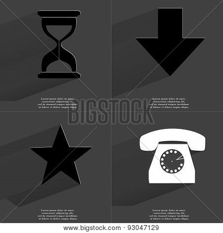 Hourglass, Arrow Directed Down, Star, Retro Phone. Symbols With Long Shadow. Flat Design