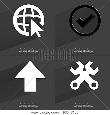 Web Icon Cursor, Tick Sign, Arrow Directed Upwards, Wrenches. Symbols With Long Shadow. Flat Design