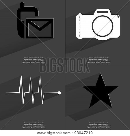Sms Icon, Camera, Pulse, Star. Symbols With Long Shadow. Flat Design