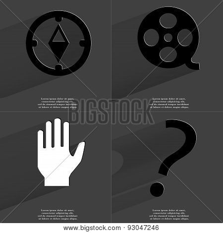 Compass, Videotape, Hand, Question Mark. Symbols With Long Shadow. Flat Design
