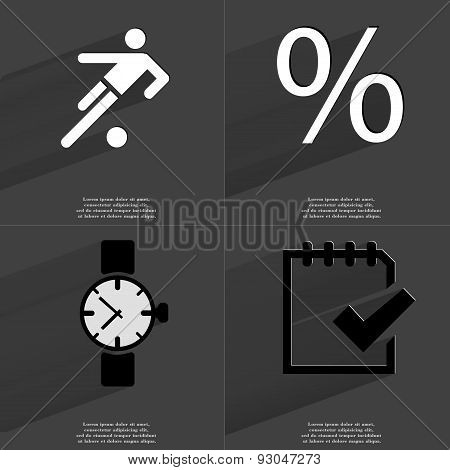 Silhouette Of Football Player, Percent Sign, Wrist Watch, Task Completed Icon. Symbols With Long Sha