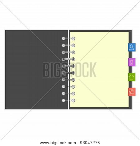 Blank notebook with colorful information bookmarks