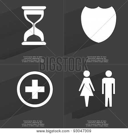 Hourglass, Badge, Plus Sign, Silhouettes Of Man And Woman. Symbols With Long Shadow. Flat Design