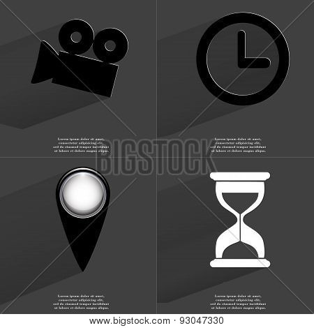 Film Camera, Clock, Checkpoint, Hourglass. Symbols With Long Shadow. Flat Design