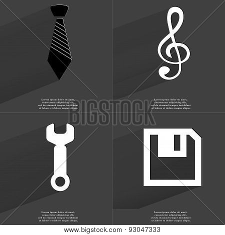 Tie, Clef, Wrench, Floppy Disk. Symbols With Long Shadow. Flat Design