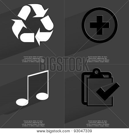 Recycling, Plus Sign, Note, Task Completed Icon. Symbols With Long Shadow. Flat Design