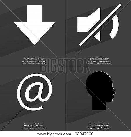 Arrow Directed Down, Mute Icon, At Sign, Silhouette. Symbols With Long Shadow. Flat Design