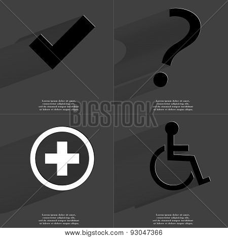 Tick Sign, Question Mark, Plus, Disabled Person. Symbols With Long Shadow. Flat Design