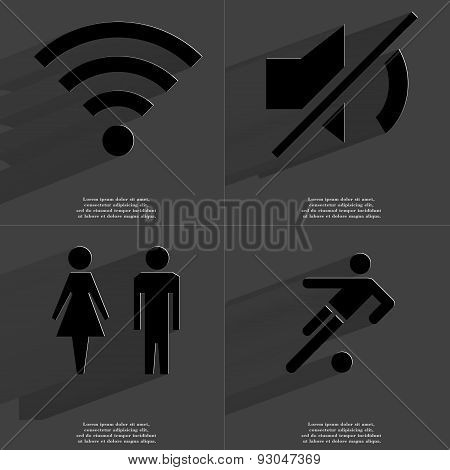 Wlan , Mute Icon, Silhoulettes Of Man And Woman, Football Player. Symbols With Long Shadow. Flat Des