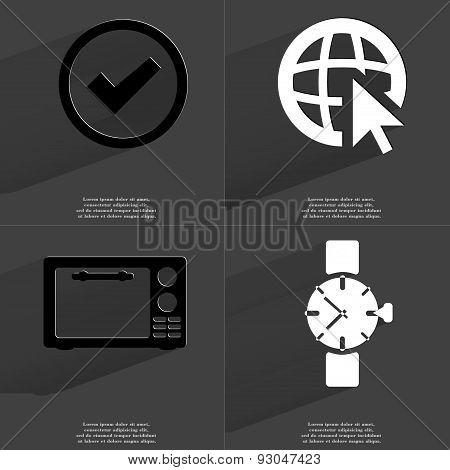 Tick Sign, Web Icon Cursor, Microwave, Clock. Symbols With Long Shadow. Flat Design