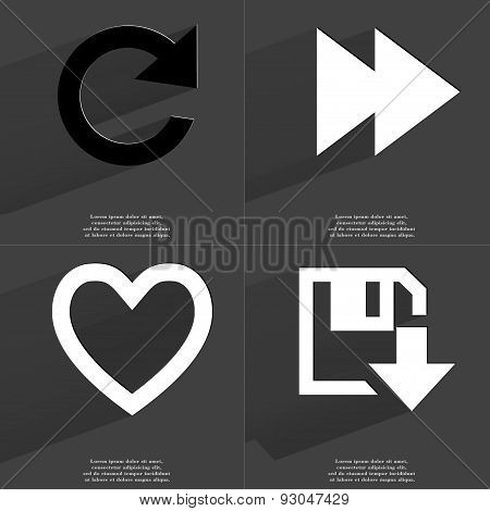 Reload Icon, Two Arrows Media, Heart, Floppy Disk Download Icon. Symbols With Long Shadow. Flat Desi