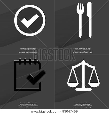Tick Sign, Fork And Knife, Task Completed Icon, Scales. Symbols With Long Shadow. Flat Design