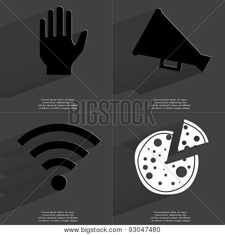 Hand, Megaphone, Wlan Icon, Pizza. Symbols With Long Shadow. Flat Design