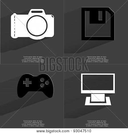 Camera, Floppy Disk, Gamepad, Monitor. Symbols With Long Shadow. Flat Design