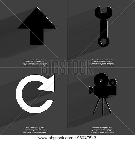 Arrow Directed Upwards, Wrench, Reload Icon, Film Camera. Symbols With Long Shadow. Flat Design