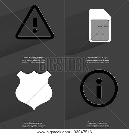 Warning Sign, Sim Card, Police Badge, Information Sign. Symbols With Long Shadow. Flat Design