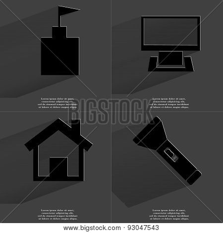 Flag Tower, Monitor, House, Flashlight. Symbols With Long Shadow. Flat Design