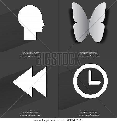Silhouette, Butterfly, Two Arrows Media Icon, Clock. Symbols With Long Shadow. Flat Design