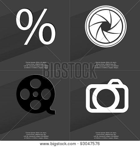 Percent Sign, Lens, Videotape, Camera. Symbols With Long Shadow. Flat Design
