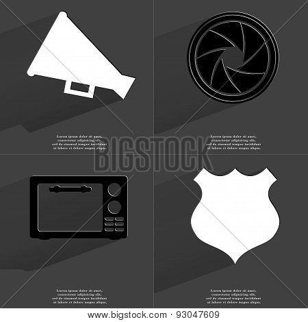 Megaphone, Lens, Microwave, Police Badge. Symbols With Long Shadow. Flat Design