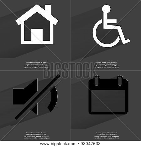 House, Disabled Person, Mute Icon, Calendar. Symbols With Long Shadow. Flat Design