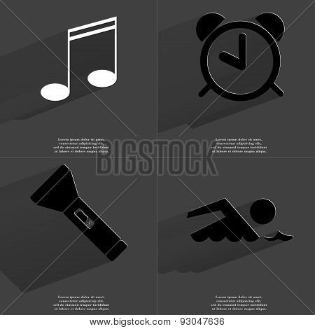Note Sign, Alarm Clock, Flashlight, Silhouette Of Swimmer. Symbols With Long Shadow. Flat Design